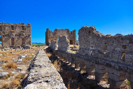 teatro antiguo: Ruinas en Aspendos en Antalya, Turquía - fondo de la arqueología
