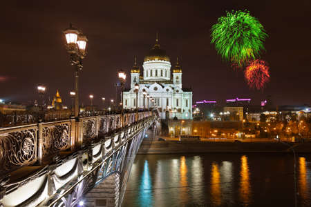 russian easter: Fireworks over cathedral of Christ the Savior in Moscow (Russia)