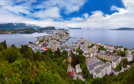 alesund: Panorama of Alesund Norway - nature and architecture background