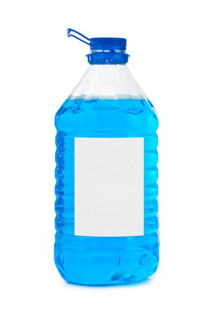 antifreeze: Bottle with blue liquid and blank label isolated on white background