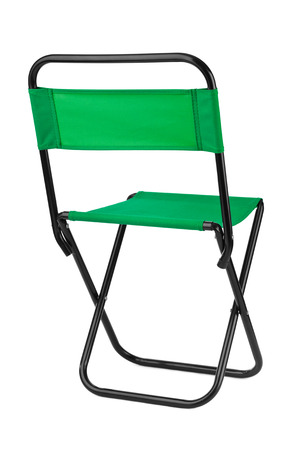 struts: Green folding chair isolated on white background