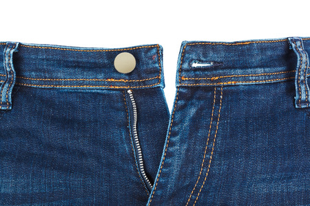without legs: Jeans isolated on white background Stock Photo