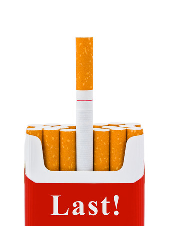 killing cancer: Last cigarette - stop smoking concept - isolated on white background Stock Photo