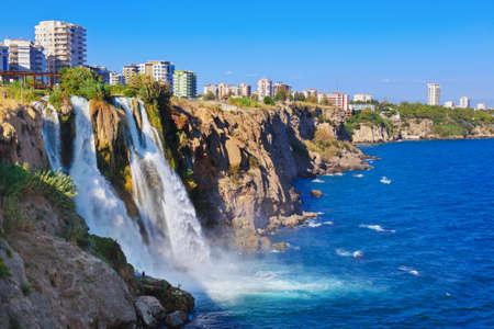 turkey beach: Waterfall Duden at Antalya, Turkey - nature travel background