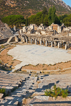 archeology: Ancient amphitheater in Ephesus Turkey - archeology background