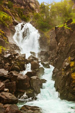 hardanger: Famous waterfall Laatefossen in Hardanger Norway - nature and travel background Stock Photo