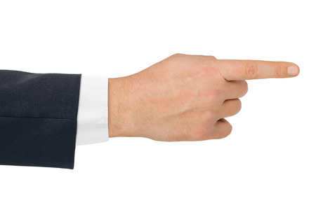 handsign: Pointing hand - isolated on white background Stock Photo