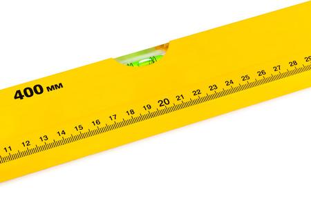 handtools: Construction level ruler isolated on white background Stock Photo