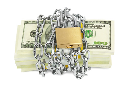 pulling money: Money and chain isolated on white background