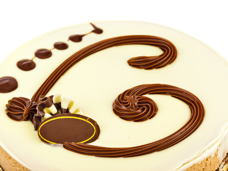 chocolaty: Big circle cake isolated on white background Stock Photo