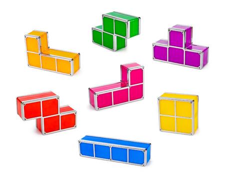 tetris: Set of tetris toy blocks isolated on white background Stock Photo