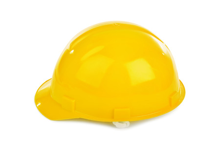 isolated on yellow: Safety helmet isolated on white background