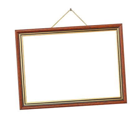 hanging: Retro frame on rope isolated on white background Stock Photo