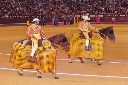 capote: MADRID, SPAIN - SEPTEMBER 18: Matador and bull in bullfight on September 18, 2011 in Madrid, Spain.