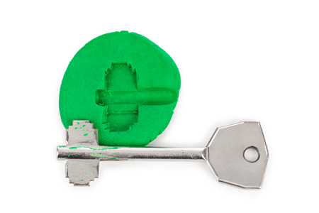 impression: Key impression - security concept isolated on white background Stock Photo