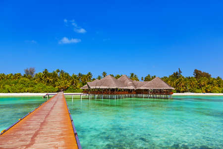 maldives island: Cafe on tropical Maldives island - nature travel background