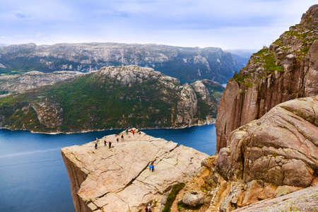 rocks water: Preachers Pulpit Rock in fjord Lysefjord - Norway - nature and travel background