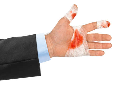 red hand: Hand with blood and bandage isolated on white background Stock Photo
