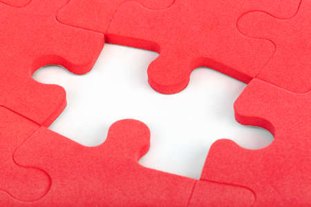 red puzzle piece: Pieces of puzzle isolated on white background