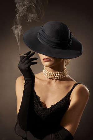 elegant lady: elegant lady smoking cigarette