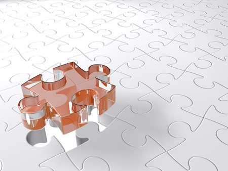 ambiguity: transparent 3D puzzle piece coming down into last free place