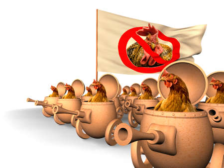 insurrection: Chauvinism. Chicken in tanks revolt against the cock with the flag