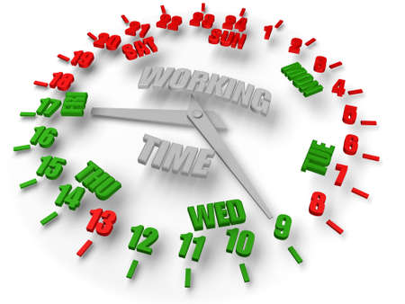 week end: Business activity. Working time 8 hours 5 days.  open time green, closed time red. Business activity.