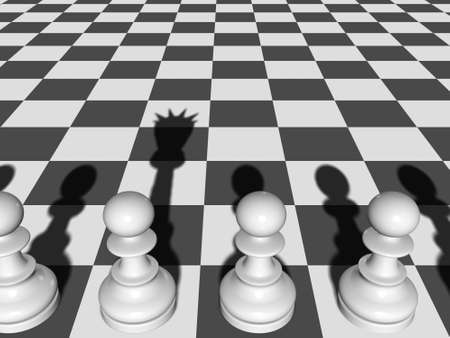 the shade: Chess. The Pawn casts a shade of the Queen on a chessboard.