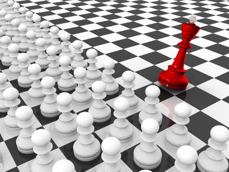 assailant: Chess. Rows of white pawns attacks red falling king chessboard.