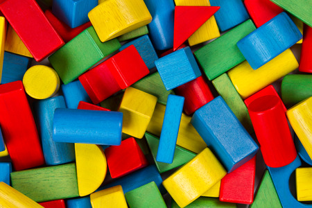 muddle: Toys blocks, multicolor wooden building bricks, heap of colorful game pieces