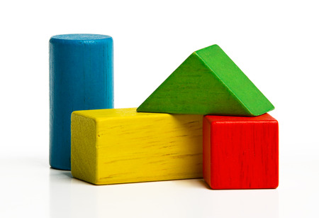 juguetes de madera: bloques de madera de juguete, multicolor ladrillos de construcci�n de edificios