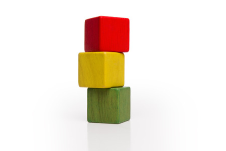 wooden blocks: toy wooden blocks stack, tower of blank multicolor box cube over white