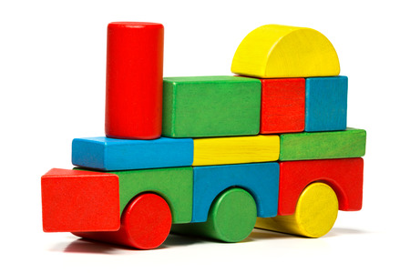 toy train, multicolor locomotive wooden blocks, transport over white  photo