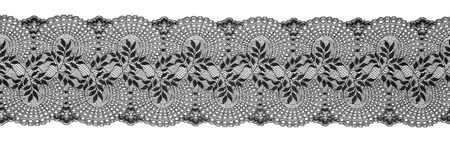 Embroidered Lace Trim Ribbon, Needlework Border, Embroidly Fabric Pattern, Isolated Over White Background photo