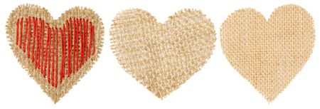 decorative object: Heart Shape Sackcloth Patch, Valentine Day Burlap Decorative Object Isolated White Background