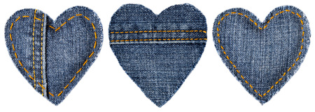 sew tags: Jeans Heart Shape Patch Object with Stitches Seam, Decorative Fabric Joint Isolated White Background, Valentines Day Textile Icon