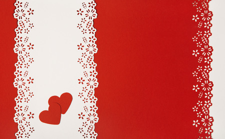 detail invitation: Valentine Day Hearts Red Background. Empty Greeting Card Decorative Template. Wedding Love Concept.