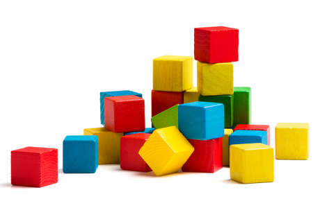wooden blocks: toy blocks heap, multicolor wooden bricks stack isolated white background