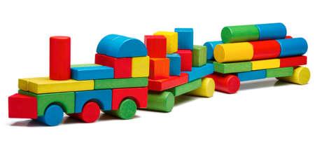 railway transportation: toy train goods van, wooden blocks cargo railway transportation, isolated white background