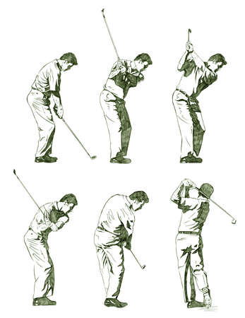 Golf, the perfect swing - Pencil Illustration illustration