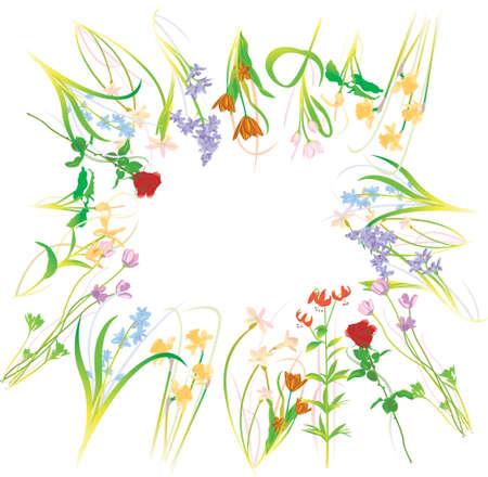 detail of bunch: Flower Bundle Illustration - Vector