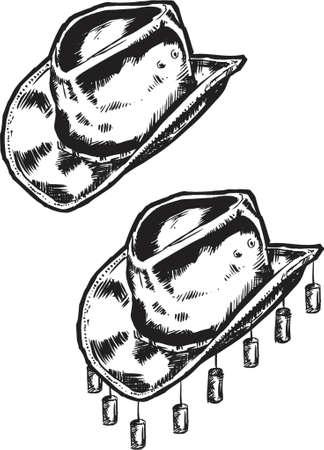 american rodeo: Cowboy  Australiano Hat - Illustrazione  Vettoriali