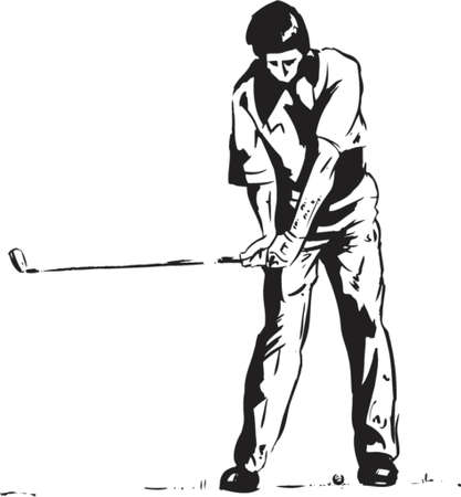 The Golf Swing Pose - One of a series of instructional illustrations
