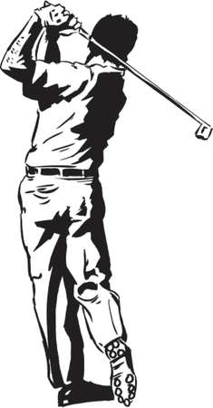instruct: The Golf Swing Pose - One of a series of instructional illustrations