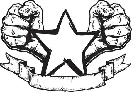 fists: An original, hand drawn heavy metal style banner illustration in the classic rock tattoo style. All parts are on their own layers and complete for use as seperate elements. Illustration