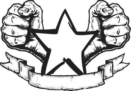 pu�os cerrados: Un original, dibujado a mano con metales pesados estilo banner ilustraci�n en el rock cl�sico estilo tatuaje. Todas las partes est�n en sus propias capas y completo para su utilizaci�n como elementos separados.