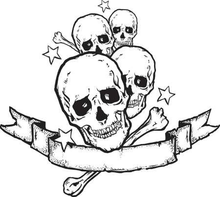 calaveras: Heavy Metal  Rock Tattoo Banner  Vectores