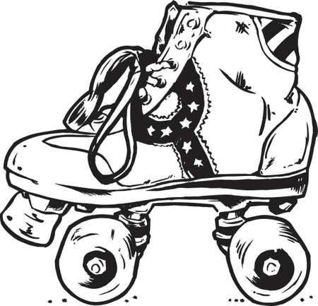 roller skating: Retro Roller Boots Vector Illustration