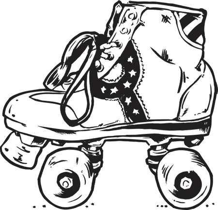 Retro Roller Boots Vector Illustration