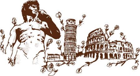 Italian Landmarks illustration including Pisa the rome Colosseum and Michelangelos David  Vector